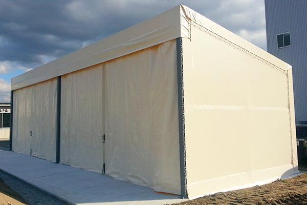 片流れテント倉庫 製品置き場専用