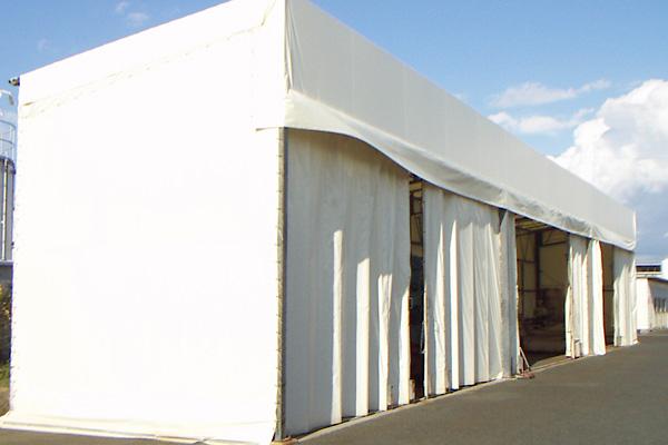 カーテン式片流れテント倉庫 資材置き場専用